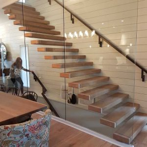 Floating Straight Stair with Glass Wall SSR
