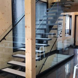 Open Riser Steel Mono Stringer Glass Railing SSR