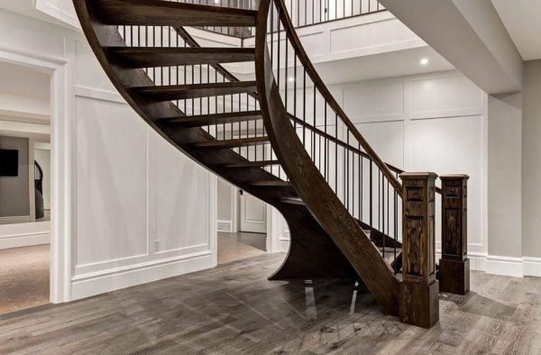 Solid Oak Curved Stair with Open Riser SSR  e