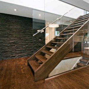 Solid Oak Tread Open Rise Western Stringer Glass Wall SSR