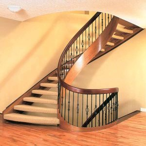 Walnut Curved Stair With Open Carpeted Treads SSR