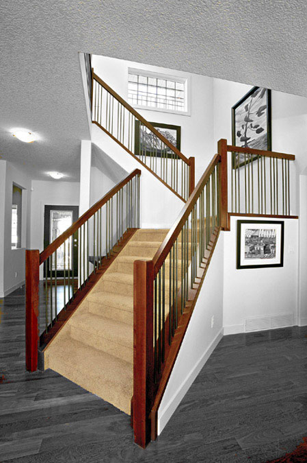 Carpeted Straight Stair with Wood and Iron Railings SSR