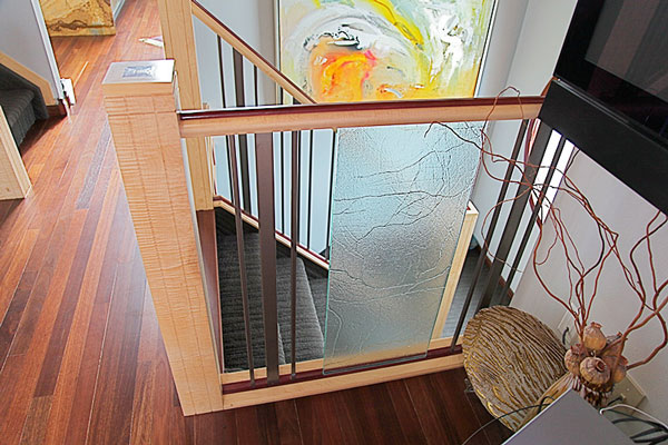 Curly Maple Post Glass Rail SSR