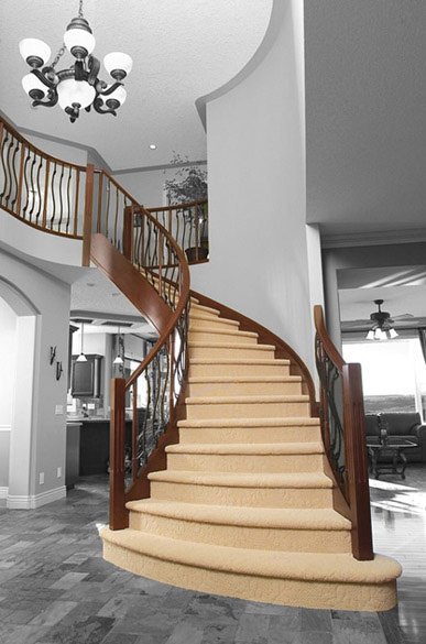 Curved Stair with Wavy Iron Spindles SSR