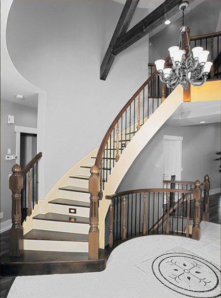 Curved Stair With Wood Treads And Painted Risers Ssr48 Spindle Stairs Amp Railings